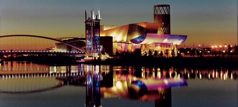 Photo of The Lowry at night.