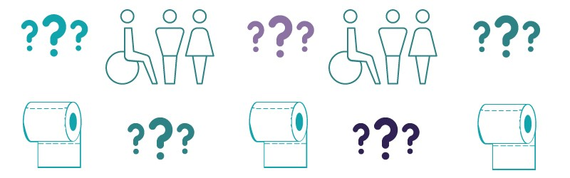 Graphic showing toilet signs and toilet features.