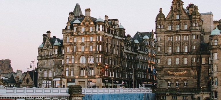 A photo of Edinburgh's Old Town buildings.