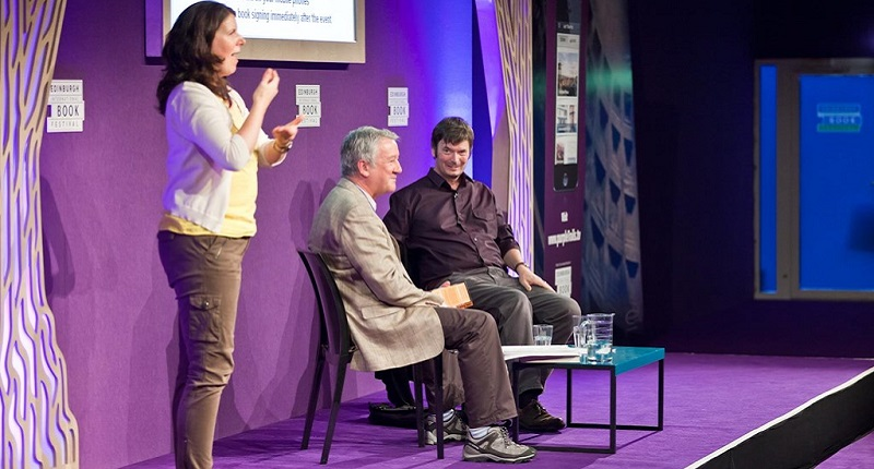Photo of a BSL interpreted event at the Edinburgh International Book Festival.