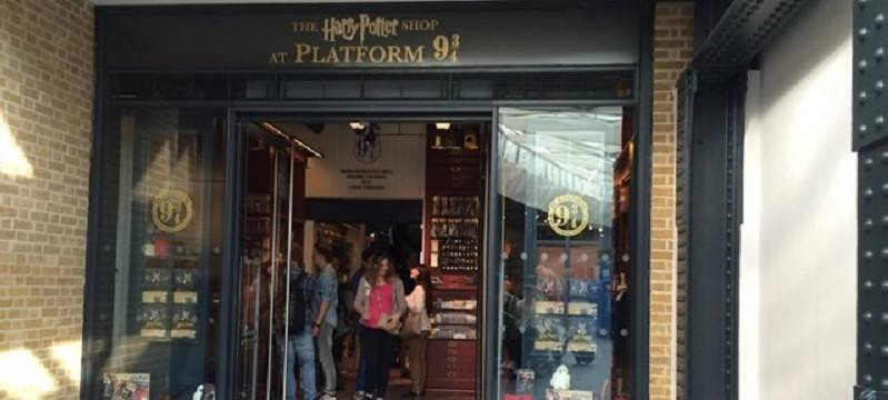 A picture of the outside of the Harry Potter store.