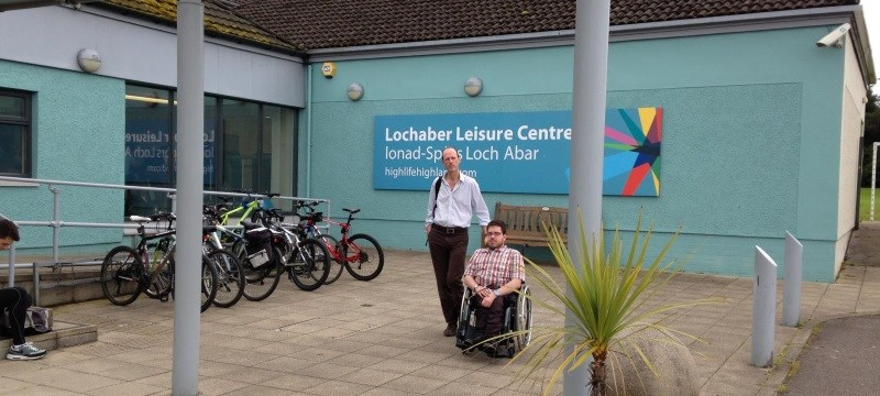 Photo of a reviewer outside Lochaber Leisure Centre.