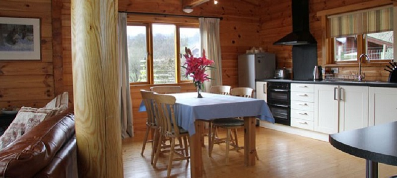 Photo of the kitchen in a Lake District Disabled Holiday lodge.