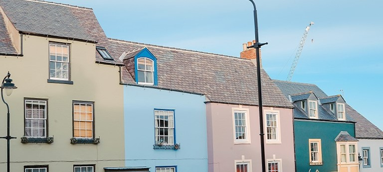 Photo of colourful houses in Durham.