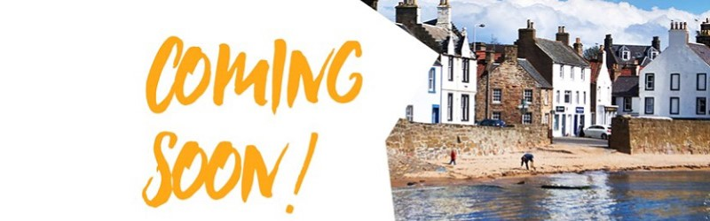 Text 'Coming Soon' and photo of a Fife harbour.