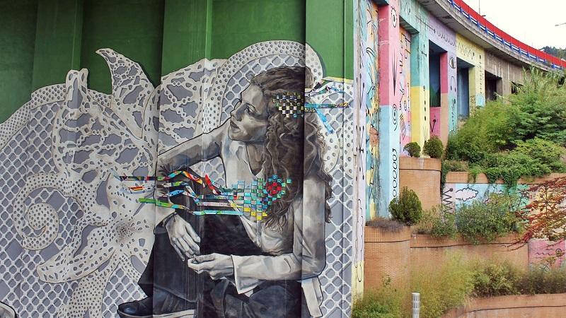 Photo of street art in Bilbao.