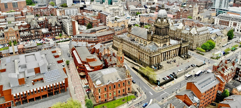 An aerial view of Leeds.