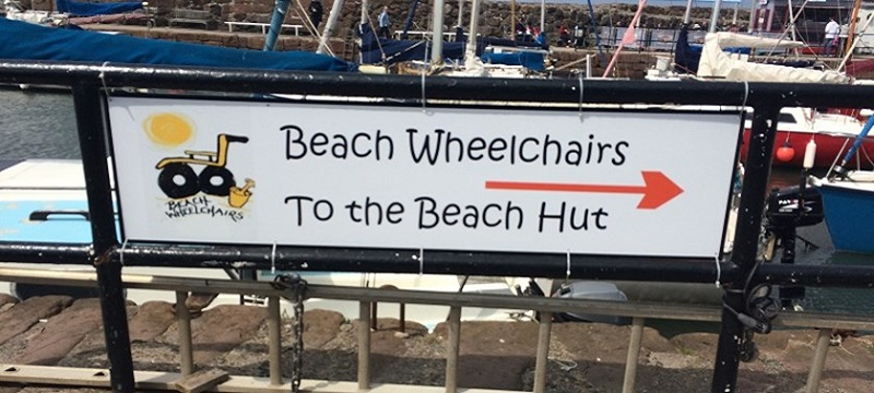 Photo of Beach Wheelchairs signage.