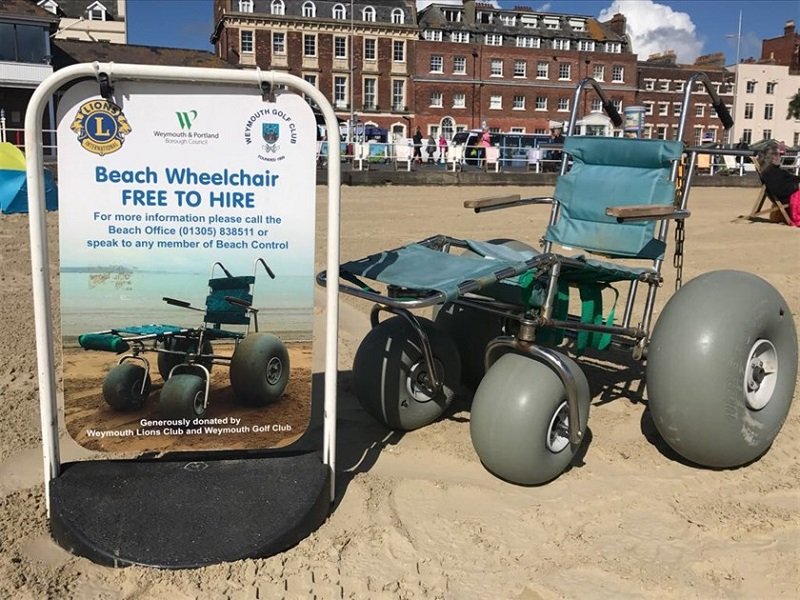 Photo of a beach wheelchair in Weymouth.