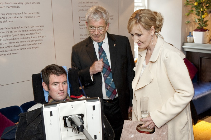 Photo of Euan and JK Rowling.
