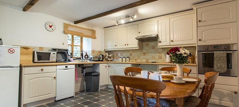 Photo of the kitchen in Todsworthy Farm Holidays.