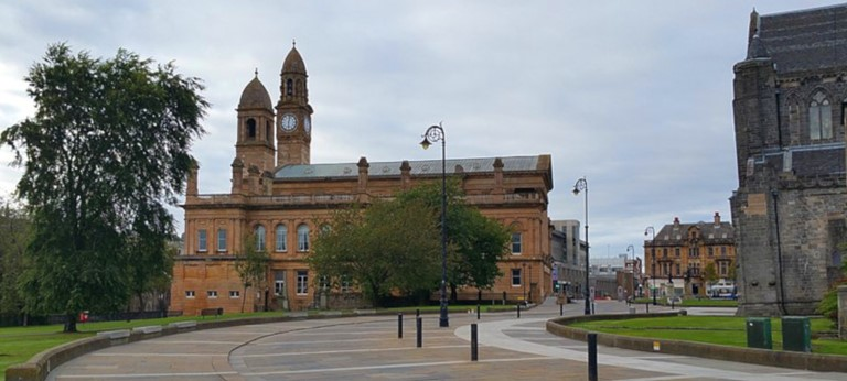 A photo of a Paisley town hall.