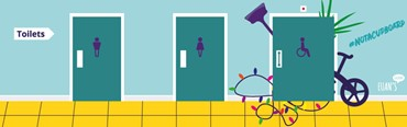 An illustration of toilet doors and clutter bursting out of the accessible loo.