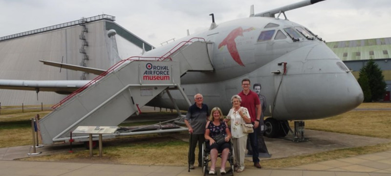 A family group visiting RAF Museum Cosford.