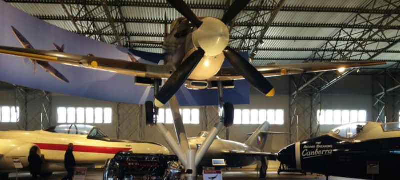 Photo of aircraft on display at the Museum of Flight.