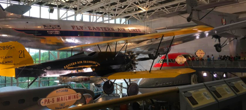 Photo of aircraft on display at the Smithsonian Air and Space Museum.