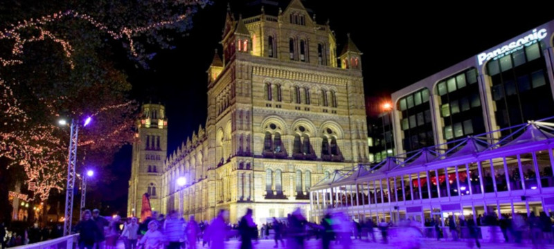 Photo of the ice rink at the Natural History Museum London.