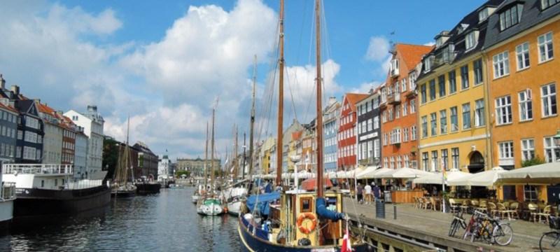 Photo showing yachts moored in Nyhavn, Copenhagen.