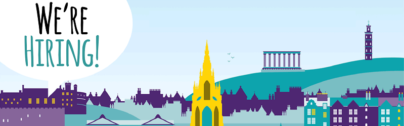 Illustration of a city with a speech bubble saying 'we're hiring.'