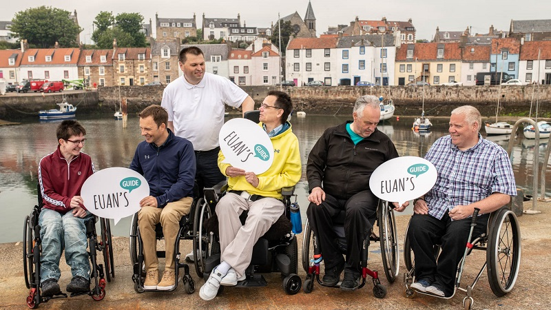 Photo of Paul in Fife with Euan's Guide Ambassadors.