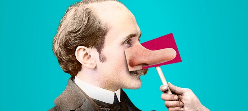 Photo of the Edmond de Bergerac  poster showing a man with a nose disguise.