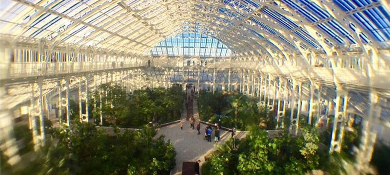 Photo of a glasshouse at Kew Gardens.