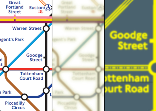Tube map viewed with full vision Vs cataracts, and again with custom colours and high zoom