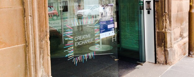 A photo of the entrance to the Creative Exchange.