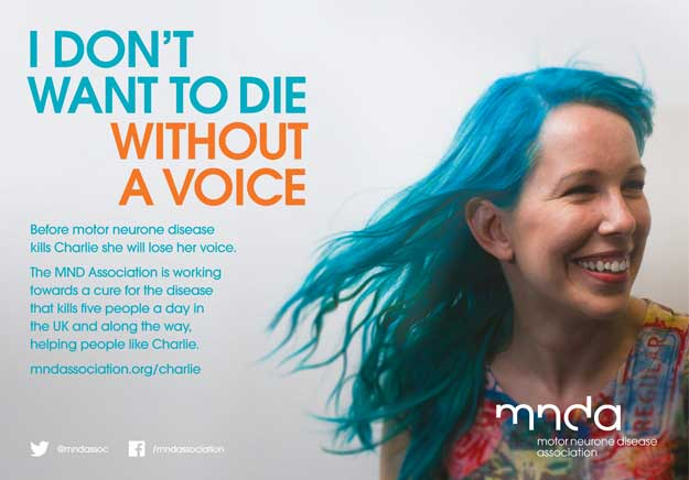 A poster about MND and voice loss