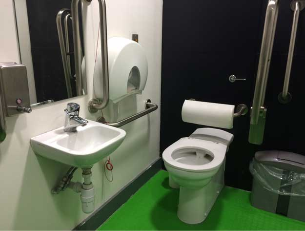 A photo of an accessible toilet with a green floor