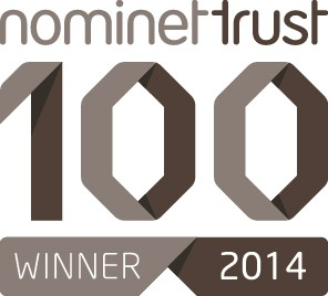 A graphic which says 'Nominet Trust winner 2014'.
