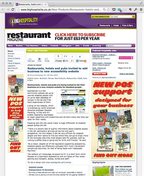 A screenshot of the Big Hospitality website