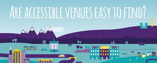 An illustration of a city sky line with the text saying 'are accessible venues easy to find'.