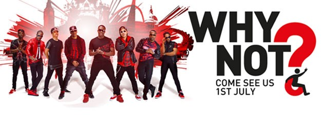 The logo of Why Not People and a photo of a band.