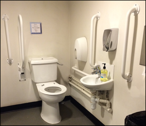 Photo showing the inside of the accessible toilet.