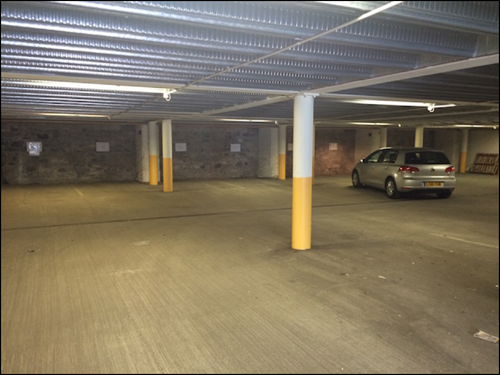 Interior of the private car park.