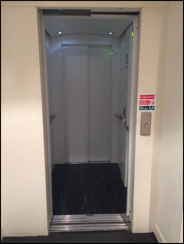 Photo of the lift with the doors open.