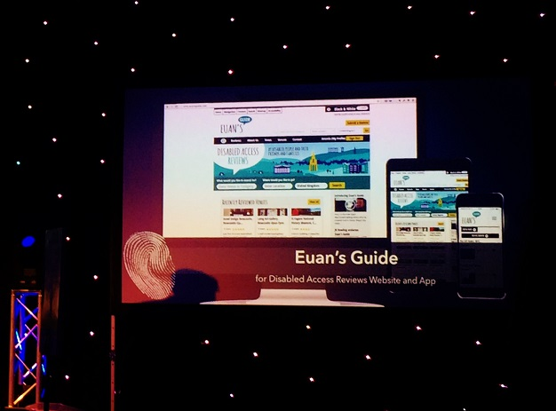 Photo of Euan's Guide nomination on screen.
