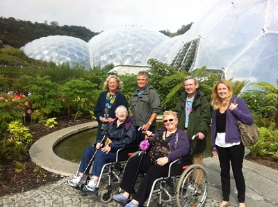 A group of people standing outside the Eden Project