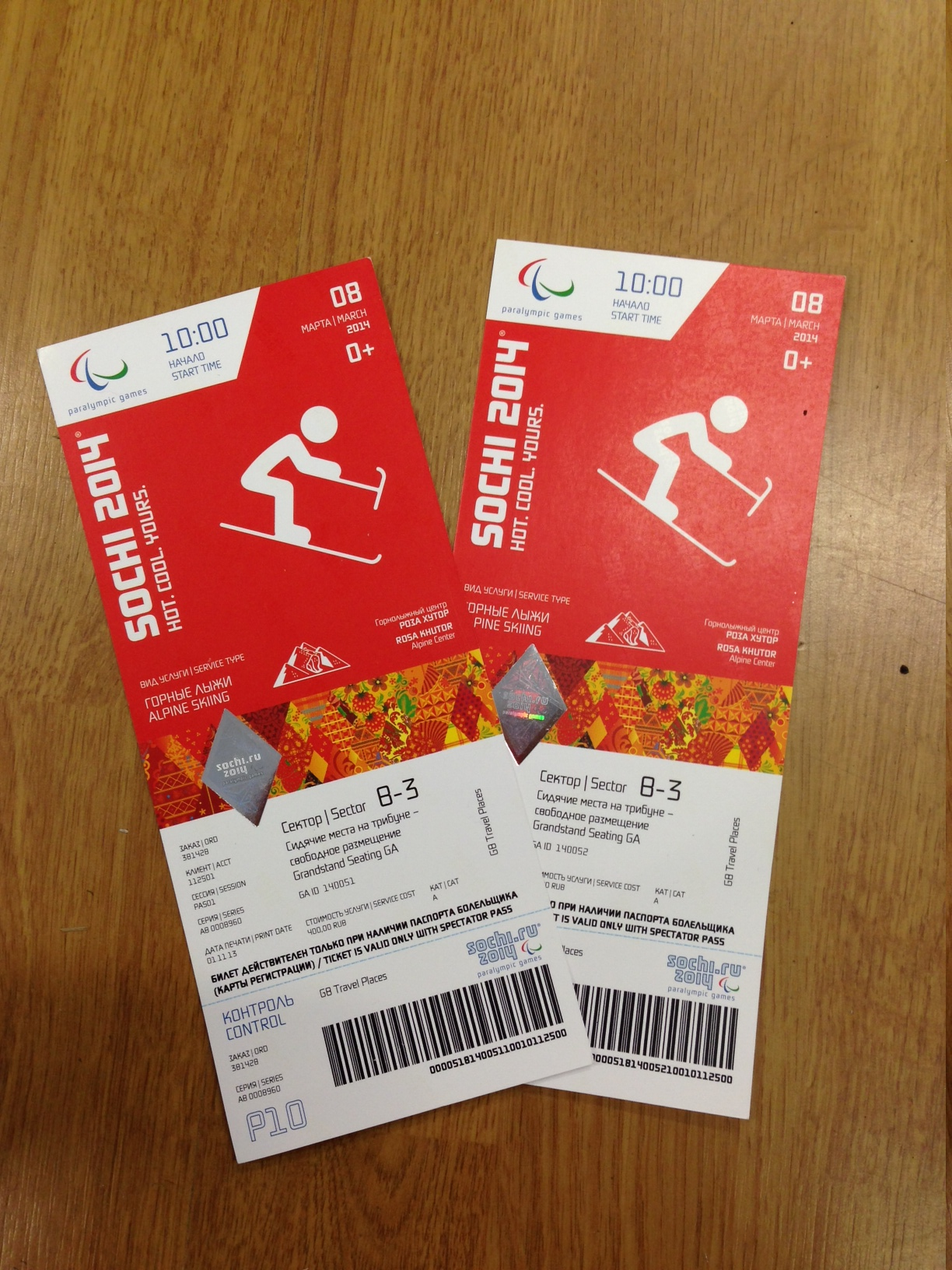 A photo of two tickets for the Paralympics