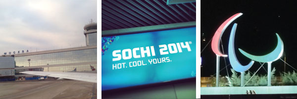 Three photos of the airport, Moscow and Sochi