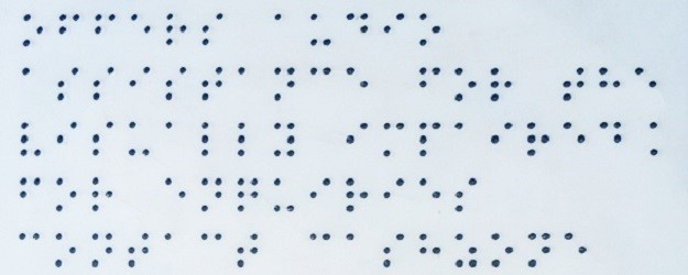 Photo of a Braille panel.