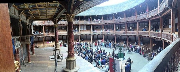 Photo of the stage at Globe Theatre.