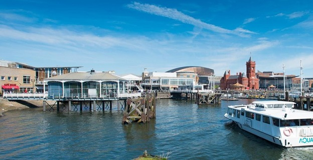 Photo of the Cardiff waterfront.