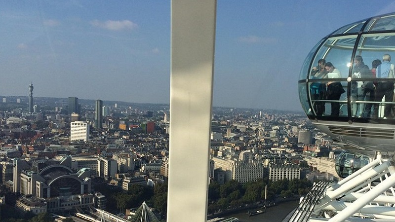 Photo of the view from a London Eye capsule.