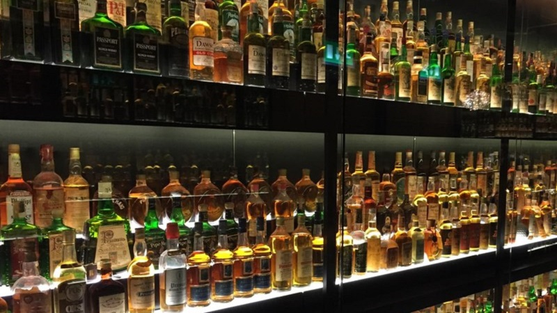 Photo of the world's largest private scotch whisky collection.
