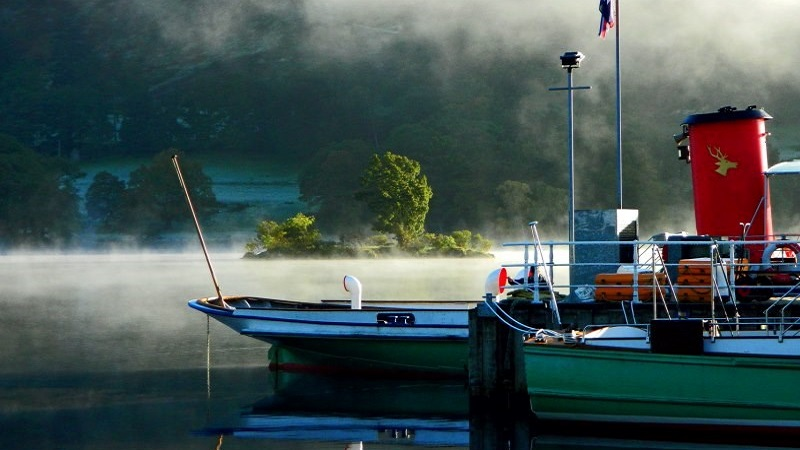 Photo of an Ullswater steamer boat surrounded by mist.