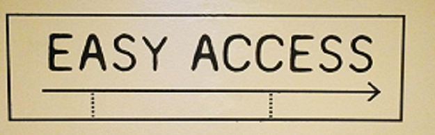 Photo of a sign saying 'Easy Access'.