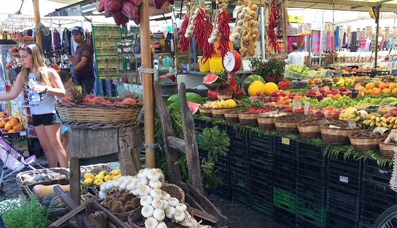 Photo of market stalls.