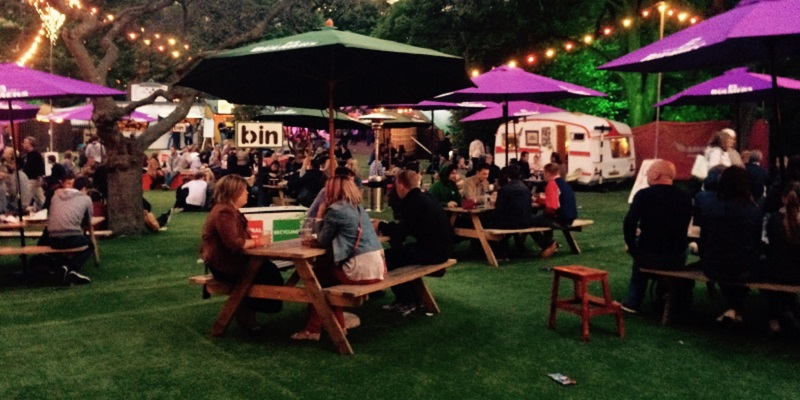 Photo of picnic benches at the Fringe.